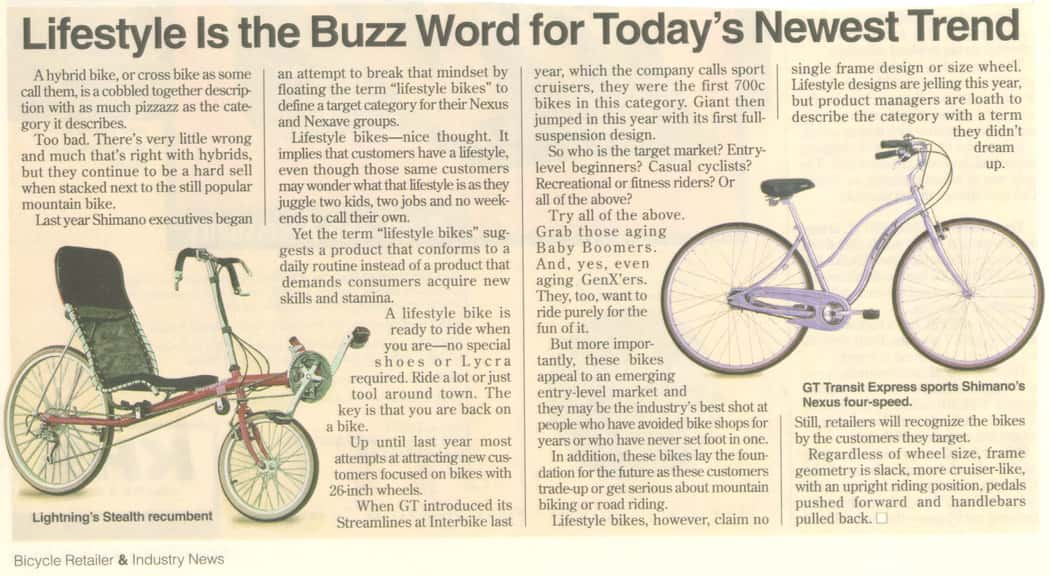 Bicycle Retailer and Industry News: Lifestyle is the buzz word for today's newest trend